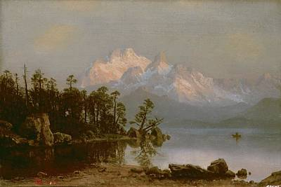Canoeing Painting - Mountain Canoeing by Albert Bierstadt