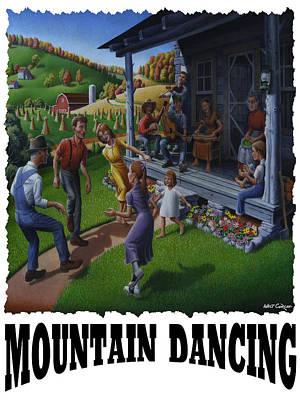 Kentucky Painting - Mountain Dancing - Flatfoot Dancing by Walt Curlee