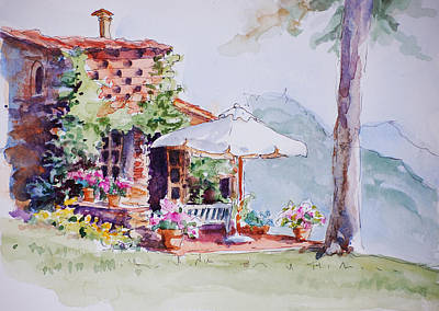 Italy Farmhouse Painting - Mountain Home by Sue Zimmermann