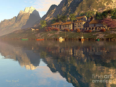 Charming Cottage Digital Art - Mountain Lake Village by Diana Voyajolu
