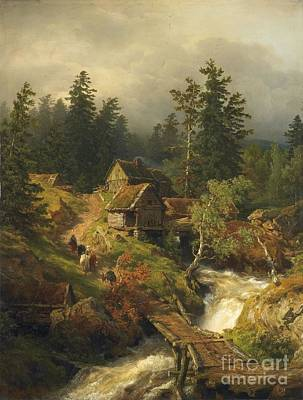 Water Mills Painting - Mountain Landscape With Torrent And Water-mill by MotionAge Designs
