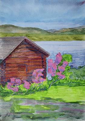 Log Cabin Art Mixed Media - Mountain Laurel By The Cabin by Bethany Lee