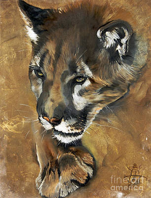 Lions Painting - Mountain Lion - Guardian Of The North by J W Baker