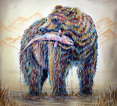 Bear Painting - Mountain Living 3 by Teshia Art