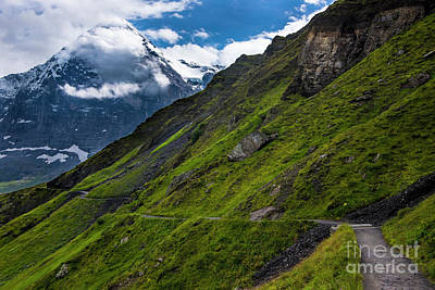 Mountain Path In The Swiss Alps Print by Gary Whitton