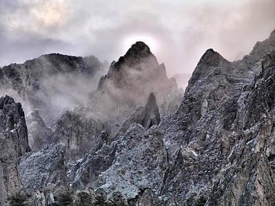 Sheer Photograph - Mountain Peaks by Leland D Howard