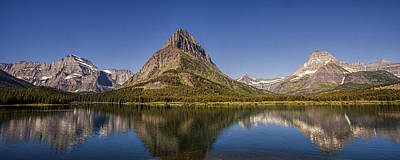 Many Glacier Photograph - Mountain Reflection Panorama by Andrew Soundarajan
