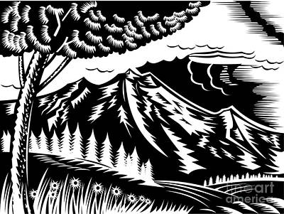 Mountain Scene Woodcut Print by Aloysius Patrimonio