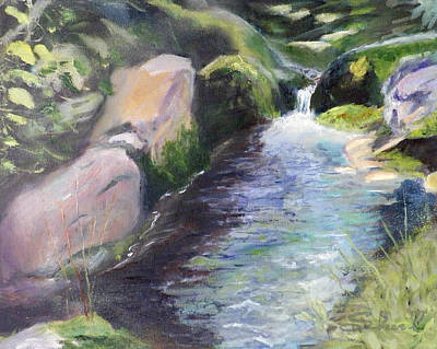 Babbling Brook Painting - mountain Stream by Sherril Porter