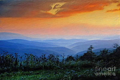Mountain Sunrise Print by Lois Bryan