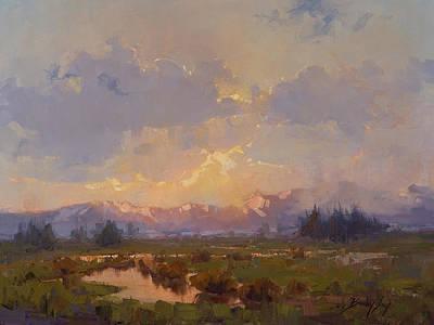 Desert Painting - Mountain Sunset by Becky Joy