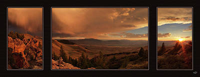 Mountain Sunset Triptych Print by Leland D Howard