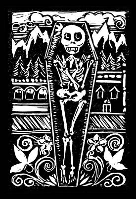 Lino Mixed Media - Mountain Town Skeleton by Katherine Nutt