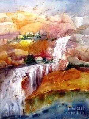 Maryann Painting - Mountain Waterfall by Maryann Schigur