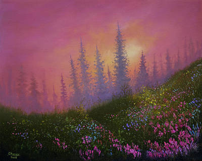 Bob Ross Painting - Mountain Wildflowers by C Steele