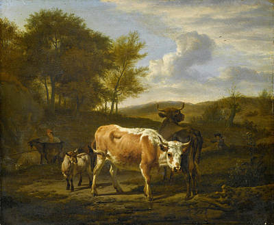 Adriaen Van De Velde Painting - Mountainous Landscape With Cows by Adriaen van de Velde