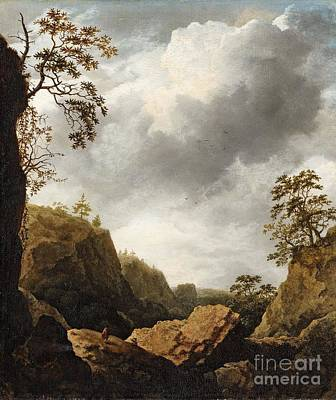 Mountainous Painting - Mountainous Landscape With Travellers by Celestial Images