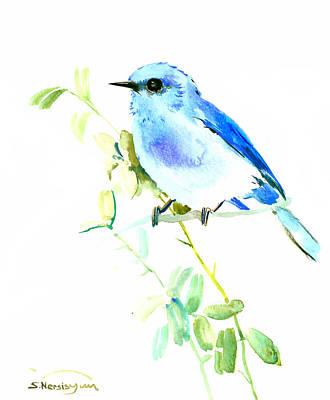 Bluebird Drawing - Mountains Bluebird by Suren Nersisyan