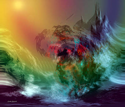 Energy Art Movement Digital Art - Mountains Crumble To The Sea by Linda Sannuti