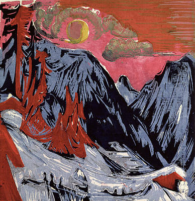 Snowy Night Painting - Mountains In Winter by Ernst Ludwig Kirchner