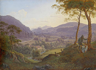 Franz Ludwig Catel Painting - Mountains Near Salzburg With A Young Couple by Franz Ludwig Catel