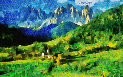 Hills Digital Art - Mountains Paradise - Da by Leonardo Digenio