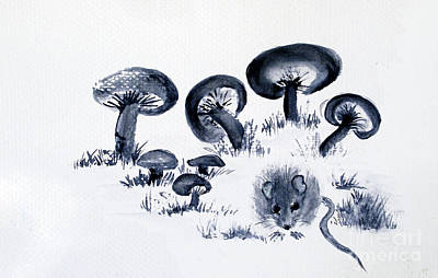 Mouse N Mushrooms Print by Sibby S