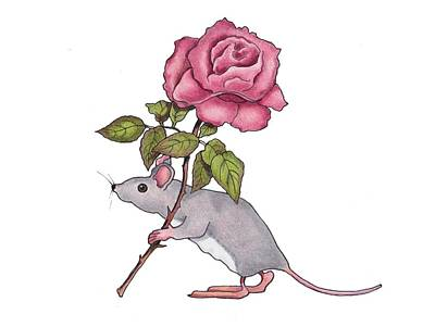 Drawing - Mouse With Pink Rose by Joyce Geleynse