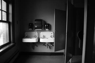 Ceramic Sinks Photograph - Movie Theatre Bathroom by Emma Jones