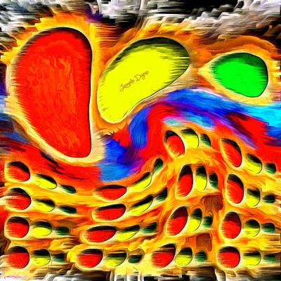 Round Painting - Moving Colors by Leonardo Digenio