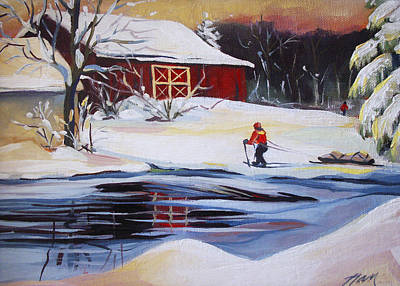 Cross-country Skiing Painting - Moving Into Winter Haven by Nancy Griswold