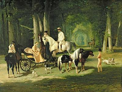 Horse And Cart Painting - Mr And Mrs A Mosselman And Their Two Daughters by Alfred Dedreux