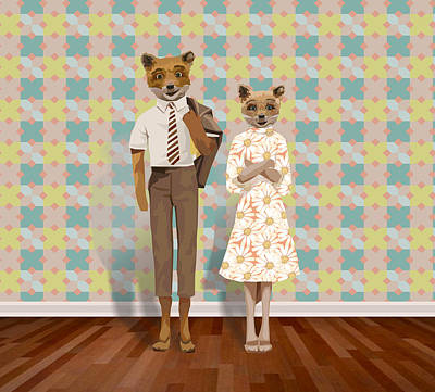 Mr. And Mrs. Fox Print by Rachel Mindes