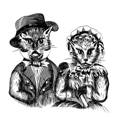 Old Friends Drawing - Mr. And Mrs. Pussy Cat by Edward Fielding