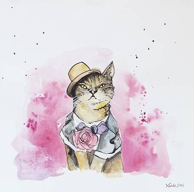 Fashion Painting - Mr Cat In Costume by Venie Tee