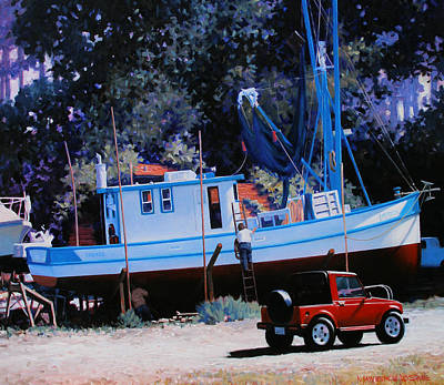 Shrimp Boat Painting - Mr. Kirk At Olmsted by Kevin Lawrence Leveque