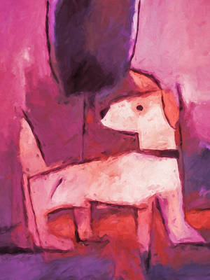 Abstract Dog Painting - Mr Pink by Lutz Baar