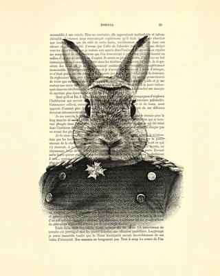 Rabbit Portrait In A Suit Print by Madame Memento