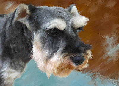 Small Dogs Painting - Mr. Schnauzer by Enzie Shahmiri