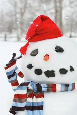 Traditional Photograph - Mr. Snowman by Sandra Cunningham