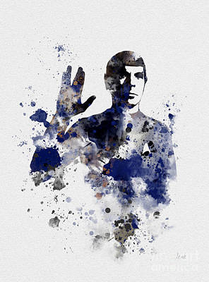 Vulcan Mixed Media - Mr Spock by Rebecca Jenkins