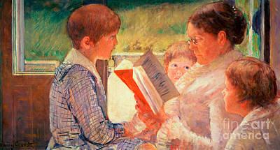 Bedtime Painting - Mrs Cassatt Reading To Her Grandchildren by Mary Stevenson Cassatt