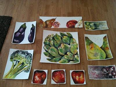 Broccoli Painting - Mrs. Kris's Kitchen by Chelsea Nunn