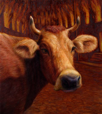 Cows Painting - Mrs. O'leary's Cow by James W Johnson