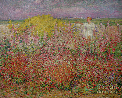 Park Scene Painting - Mrs Russell Amongst The Flowers At Belle Isle by John Peter Russell