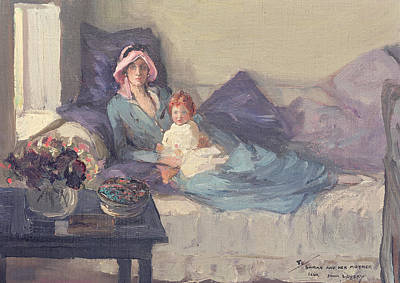 Window Signs Painting - Mrs Winston Churchill With Her Daughter Sarah by Sir John Lavery