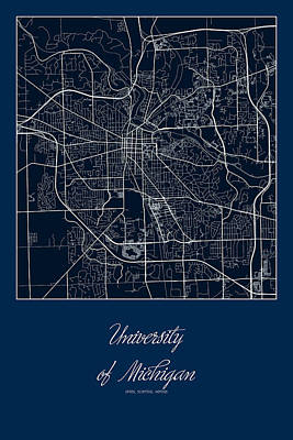 University Of Michigan Digital Art - U Of M Street Map - University Of Michigan In Ann Arbor Map by Jurq Studio