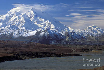 Mt. Mckinley And Lenticular Clouds Print by Sandra Bronstein