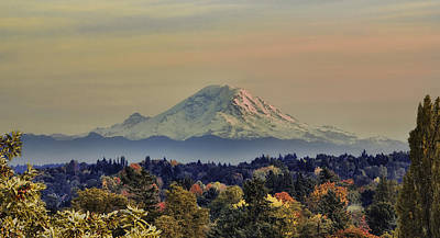 Mt Rainer Fall Color Rising Print by James Heckt