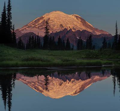 Mt Rainier Mirror Image Print by Angie Vogel